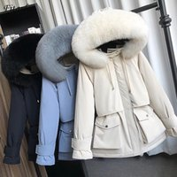 Женский вниз Parkas Fitaylor Зима Большой Натуральный Енот Мех с капюшоном Женщины 90% Белая Утка Куртка Толстая Теплый Снежный Верхняя одежда
