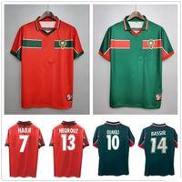 Rétro classique Coupe du monde 1998 maison loin maillots de football Maroc HADJI OUAKILI NEQROUZ BASSIR 98 99 Retro taille de chemise customize de football: S-XXL