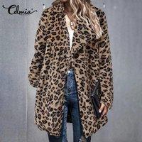 Giacche da donna 2021 Celmia Donne Leopard Stampa Stampa pile Cappotti Moda Manica lunga Inverno Capispalla calda tuta sportiva Risvolto Plus Size Ufficio