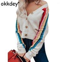 Okkdey 2020 Kadın Moda Gökkuşağı Çizgili Hırka Bayanlar Rahat Uzun Kollu Kış Sonbahar Örme Kazak Kadın Triko1