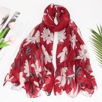 Bufanda impresa para mujer de la gasa del algodón Wrap Bali Hilados de algodón de lino caliente de gran tamaño impresión de la flor del invierno del otoño del mantón de moda dama de la moda