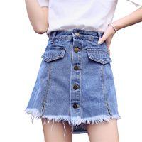 Pantalones cortos de falda Mujeres Denim Moda corta Ropa de verano Faldas de cintura alta Jeans cortos Botón femenino S-XXL Pantalones Jean Y200512