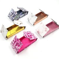 Commercio all'ingrosso di marmo magnetica Ciglia Box 25 millimetri 3D Striscia di ciglia pieghevole scatola di carta regalo di lusso Lashbox personalizzato Lash Packaging Caso