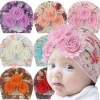 Новорожденный Baby Girl Детские Hat Цветок хлопка Beanie Cap малыши Тюрбан Фото Реквизит