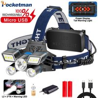 Яркий красный / синий / белый светильник светодиодный фар L2 + 2 * T6 фар USB аккумуляторный головной свет с защитой от хвоста Водонепроницаемый1