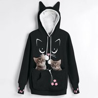 Chegada Nova Cat Lovers Hoodie Dog Kangaroo Paw Pet Emboridery Pullovers afago bolsa camisola bolso Orelha de animal com capuz 201008