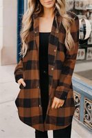 Long Plaid Coat for Femmes Turn Collier Single Brotto Pocket Femmes Chemises Streetwear Automne Overdim Outerwear