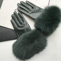 Maylofuer verde scuro guanti di pelle di pecora genuino guanti in pelle di alta qualità elegante mano delle donne di cuoio morbido