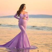 طويلة الأكمام فساتين الأمومة مثير الخامس الرقبة ثوب ماكسي طويل التصوير الفستان للنساء الحوامل اللباس الحمل للصور تبادل لاطلاق النار Y200805