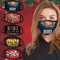 Maschera di Natale Maschera di Natale Capodanno Decorazioni dei cartoni animati Maschere dei cartoni animati Bambino Cotone Adulto Riutilizzabile Maschera lavabile Reutible Commercio all'ingrosso 2021 Capodanno