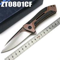 Yeni ZT Sıfır Tolerans 0801CF ZT0801CF ZT0801 D2 Blade TC4 Titanyum + Karbon Fiber Avcılık Kamp Katlanır Bıçak Hediye Bıçak