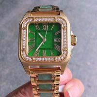 depósito de oro reloj de jade cuadrada movimiento de cuarzo suizo cristal de zafiro tamaño de la aguja luminosa: 44-33-12mm.The cadena de jade jadeíta de lujo reloj 001