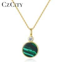 Czcity Yeni 18 K Altın Kaplama 925 Ayar Gümüş Zümrüt Malakit Taş Kolye Kolye Kadınlar için Zarif Yıldönümü Takı 201202