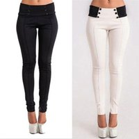 Pants For Women Stretch Skinny High Waist Button Pencil Pant Slim Trousers Casual Modal Leggings S-XL
