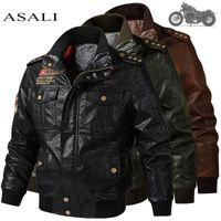 Erkek Klasik Motosiklet Ceket Kış Cilt Kalın Adam Deri Ceket Moto Sonbahar Fermuar Ceket Biker Ceket Büyük Boy 6XL 201104