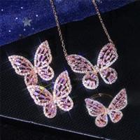 Novo conjunto de jóias encantador conjunto 18k branco rosa banhado a ouro bling cz brincos de borboleta colar anel jóias conjunto para meninas mulheres bom presente