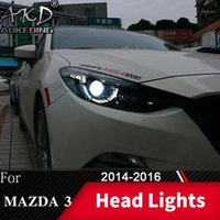 Lámpara de cabeza para coche 3 Axela 2014-2016 3 faros luces de niebla Día de funcionamiento DRL DRL H7 LED Bi Xenon Bulb Accesorio de coche1