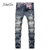 Силливость мода байкер джинсы брюки модный дизайнер мужские джинсы высокого качества синий цвет прямо разорвал для мужчин
