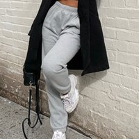 Pantalones de chándal y joggers de mujer Gray Streetwear Pantalones Mujeres Verano suelto Pantalones de cintura altos blancos Pantalón ancho Pantalón S-L