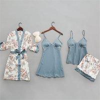 9style Sexy Lingerie Pijama Robe Baskı Çiçek Pijama Kadınlar Uzun Kollu Giyim Nightgowns Pijama Göğüs Pedleri Ile Setleri W1225