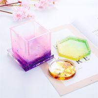 크리 에이 티브 DIY 코스터 금형 실리콘 주조 크리스탈 금형 투명 광택 꽃 냄비 기본 금형 4 스타일 3 7ms E19