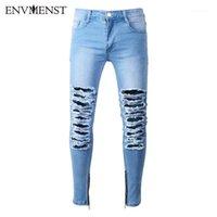 Jeans pour hommes envmensest pantalon de denim déchiré blanc avec des trous super maigre slim ajustement détruit des pantalons de joggeurs en détresse pour hommes1