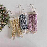 Outono Inverno Crianças Knit Socks Crianças espessamento Cor Retro Matching Dot Malha Stocking Meninos Meninas de flor Knitting Socks S852