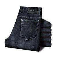 Männer Jeans 2021 Herbst und Winter Stretch Normal Fit Business Casual Classic Style Mode Denim Hose Männlich Schwarz Blau
