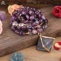 Naturlig regnbåge fluorit sten rhombus pärlor hängsmycke vit amethysts kvarts chip knut handgjorda halsband kvinnor smycken kedjor