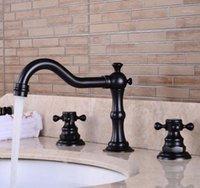 Ретро ванная комната двойной ручкой кран масло утромный бронзовый кран бассейна раковина смеситель кран.3 отверстие две ручки кран 3 шт. GY-808ORB1