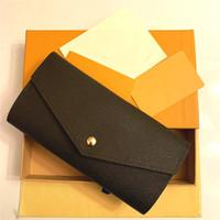 Portefeuille Sarah Wallet. Высококачественные женские модные конверт стиль длинный кошелек для карт держателя корпуса знакового коричневого водонепроницаемого холста M60531 SAC