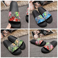 Designer Pantofole Slide Womens Summer Beach Sandali Sandali Pantofole Classiche Signore Pantofole floreali Donne Donne Flip Flops Flat Slipper Dimensioni 36-45