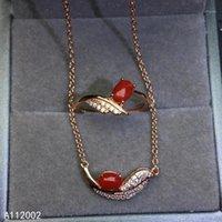 Armband, Ohrringe Halskette KJJEAXCMY Fine Schmuck Natürliche rote Korallen 925 Sterling Silber Frauen Edelstein Anhänger Ring Set Support Test 1