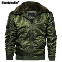 Erkek Ceketler Mountainskin erkek Kış Kalın Motosiklet Mont Erkek Pilot Bombacı Ceket Polar Sıcak Erkek Marka Giyim SA5551
