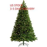 US Stock 3-5 Dagsleverans Förlyst Julgran 7.5ft Artificial Hinged Xmas Tree med 400 Pre-Strung LED-lampor Fällbara stativ W49819945