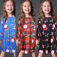 Pinguim do boneco de neve do bebê Girs Vestidos Outono Inverno Natal das crianças saia Papai Noel Elk Urso dos desenhos animados Impresso Long Sleeve Xmas Vestido E101903