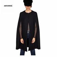 2020 Otoño Invierno Negro capa del cabo de las mujeres de lana Capa de las chaquetas de abrigo del mantón de sacos de lana