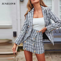 JuneLove Donne New Blazer doppiopetto Giacche Vintage cerniera femminile Tweed Imposta Street Wear Suits casual Office Lady Bottoms
