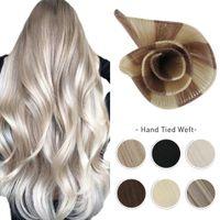 10A el bağlı atkı saç uzantıları 100% bakire insan saçı ipeksi düz görünmez brezilyalı sarışın demetleri el yapımı dikmek