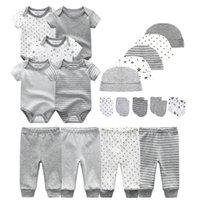 Unisex Yeni Doğan Bebek Erkek Giysileri Bodysuits + Pantolon + Şapkalar + Eldiven Bebek Kız Giysileri Pamuk Giyim Setleri LJ201223