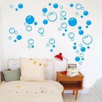 Pegatinas de pared Burbujas lindas Azul Pink Black Baño Ducha Cocina Tecas de arte Removible Impermeable DIY Niños Baño Decoración de la casa