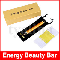 24K Energia Beauty Bar Ouro Derma rolo Energia face Massager Beauty Care Vibration Massagem Facial elétrica
