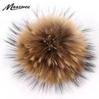 DIY помпон Real Raccoon Fur П РОМ меховых шаров для Hat Cap шапочка Украсьте защелку Большого 15см помпонных природных Hairball животных