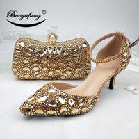 zapatos de las mujeres de cristal de la boda BaoYaFang champán de oro y bolsas de vestir zapatos de la correa del Rhinestone zapatos de tacón alto tobillo partido de las mujeres