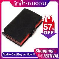 Dienqi mince en cuir de luxe de sécurité Hommes Femmes Porte-cartes Ridge Portefeuilles Mini bourse rouge magique Portefeuille 2020 Walet