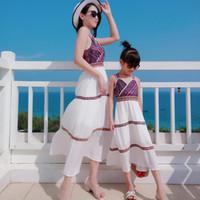 PPXX estate Girl Dress Beach donne Mexi Dress Madre Figlia femmina Famiglia Vestiti uguali Beach Cardigan sguardo della famiglia