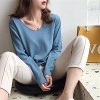 Suéter das mulheres AossViao 2021 Outono inverno em v-pescoço Minimalista tops elegante estilo coreano tricotando pulseiras sólidas casuais