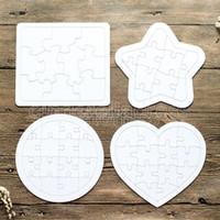 Papel colorir imagem puzzles sublimação em branco diy branco kids game presentes jigsaws crianças pintando redondo quadrado brinquedo 5 tipos
