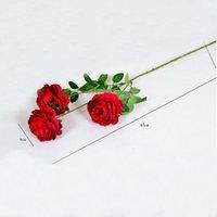 الزهور الاصطناعية جميلة diy باقة حزب ربيع الزفاف الديكور وهمية زهرة 3 رئيس روز الفاوانيا الحرير الاصطناعي الزهور EEF4025