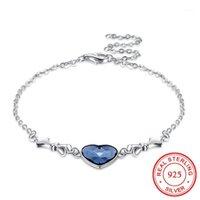 Bracelets de charme authentique 100% véritable 925 sterling argent bleu austrian cristal coeur bracelet bracelet fine mariage bijoux cadeau pour femmes